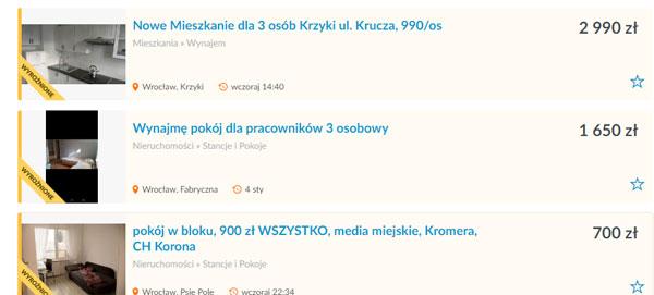 цена съемное жилье в Польше